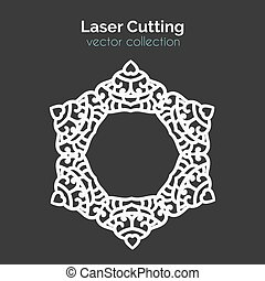 Laser Cutting Template. Round Card. Die Cut Mangala. Cutout...
