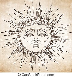Antique style hand drawn art sun. Boho chic tattoo design...