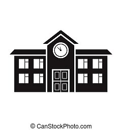 School icon in black style isolated on white background. Building symbol stock vector illustration.