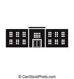 Police station icon in black style isolated on white background. Building symbol stock vector illustration.