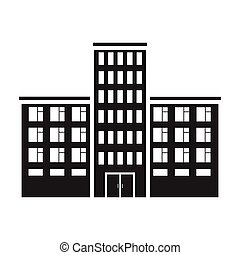 Hospital icon in black style isolated on white background. Building symbol stock vector illustration.