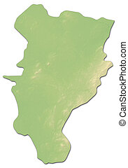Relief map - Kildare (Ireland) - 3D-Rendering - Relief map...