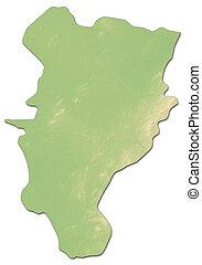 Relief map - Kildare (Ireland) - 3D-Rendering - Relief map...