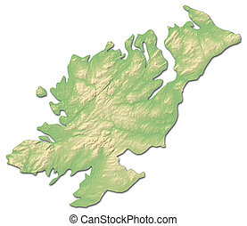 Relief map - Donegal (Ireland) - 3D-Rendering - Relief map...