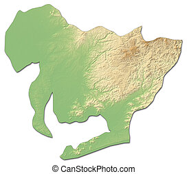 Relief map - Aichi (Japan) - 3D-Rendering - Relief map of...
