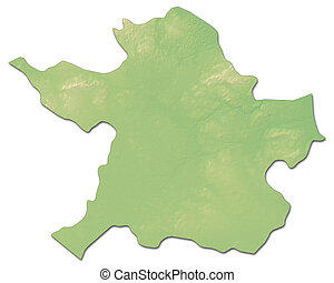 Relief map - Meath (Ireland) - 3D-Rendering - Relief map of...