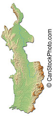 Relief map - Choco (Colombia) - 3D-Rendering