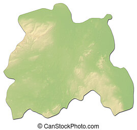 Relief map - Laois (Ireland) - 3D-Rendering - Relief map of...
