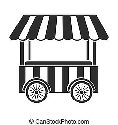 Snack cart icon in black style isolated on white background....