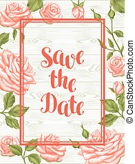 Wedding invitation card template with roses. Calligraphic text and vintage flowers