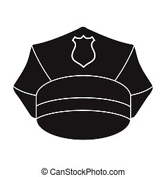 Police cap icon in black style isolated on white background. Hats symbol stock vector illustration.