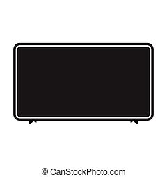 LCD television icon in black style isolated on white background. Household appliance symbol stock vector illustration.