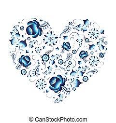 Russian traditional gzhel pattern in heart shape on white -...