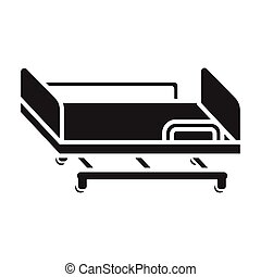 Hospital gurney icon in black style isolated on white...