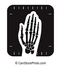 X-ray hand icon in black style isolated on white background....