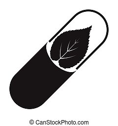 Pill icon in black style isolated on white background....