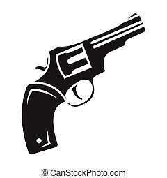 Revolver icon in black style isolated on white background....