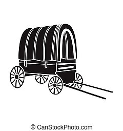 Cowboy wagon icon in black style isolated on white...