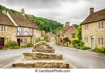 Castle Combe, Cotswold village - Historic houses in the...