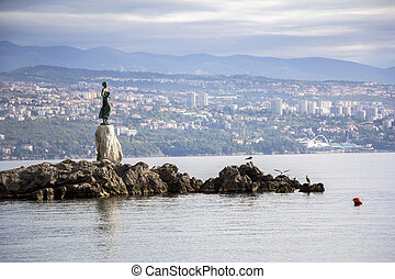 Seascape Opatija in Croatia with Sculpture of the woman with...