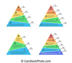 Pyramid, layers chart infographic vector elements with...