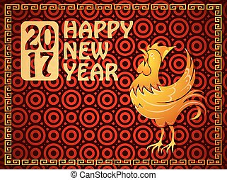 Greeting card for year 2017 with Rooster as symbol