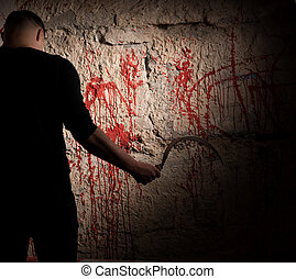 Shadowy figure holding sickle near blood stained wall for...