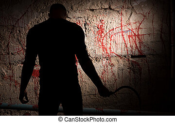 Shadowy figure near blood stained wall - Shadowy figure...