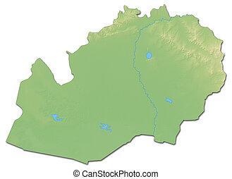 Relief map - West Kazakhstan (Kazakhstan) - 3D-Rendering