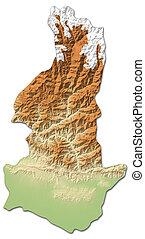 Relief map - Sagarmatha (Nepal) - 3D-Rendering