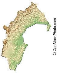 Relief map - Taranaki (New Zealand) - 3D-Rendering - Relief...