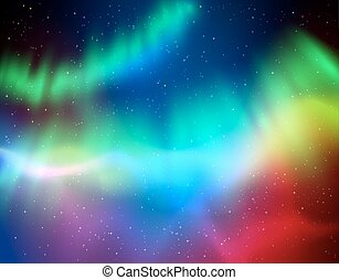 Vector illustration of northern lights background in green...