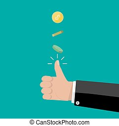 hand of businessman tossing a coin. vector illustration in...