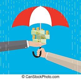 Umbrella to protect money