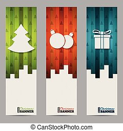 Christmas shopping labels with striped colorful elements -...