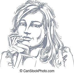 Vector art drawing of pensive romantic woman with stylish...