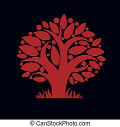 Tree with ripe apples, harvest season theme illustration....