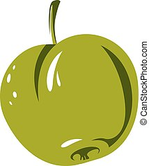Harvesting symbol, single vector fruit isolated. Ripe organic whole sweet apple, healthy food idea design icon.