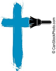 Religious cross vector simple illustration created with...