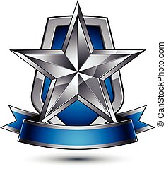 Renown vector silver star with wavy ribbon placed on a...