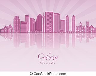 Calgary V2 skyline in purple radiant orchid - Calgary...