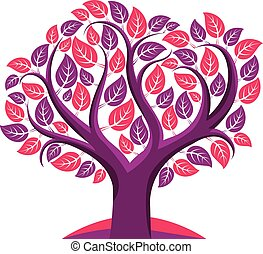 Art vector illustration of tree with purple leaves, spring...