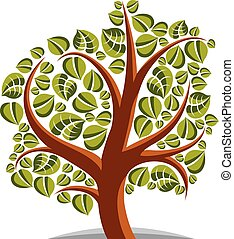 Art vector illustration of tree with green leaves, spring...