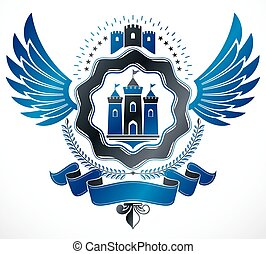 Heraldic Coat of Arms decorative emblem isolated vector...