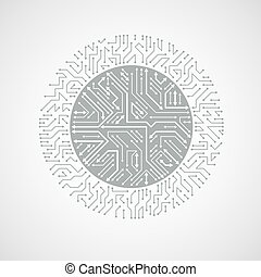 Round circuit board with electronic components of technology...