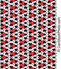 Red messy abstract seamless pattern with interweave lines....