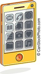 Smartphone with options, cell phone isolated on white, vector illustration.