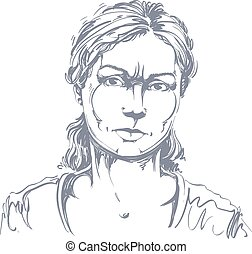 Graphic vector hand-drawn illustration of white skin angry...