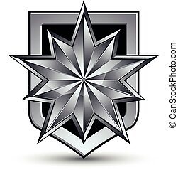 Vector glorious glossy design element with luxury 3d silver star, silvery conceptual graphic template, clear EPS 8 complicated shield.