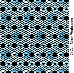 Blue abstract seamless pattern with interweave lines. Vector...